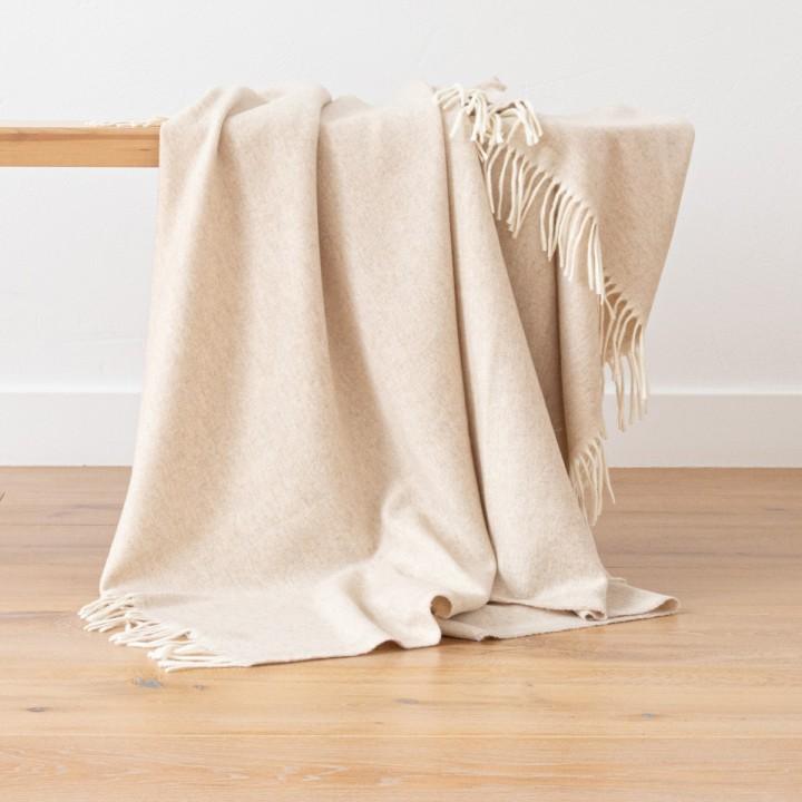 Cashmere Wool Throw Beige Ernesto Herringbone