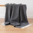 Cashmere Wool Throw Anthrazite Ernesto Herringbone
