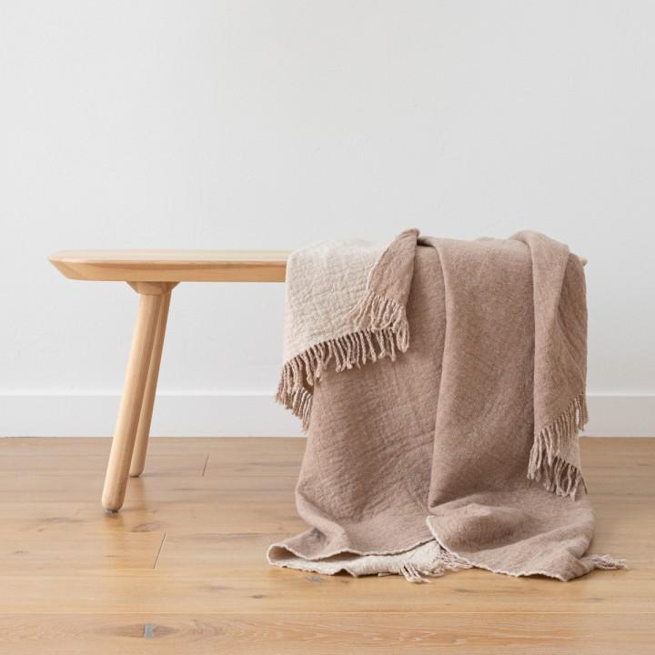 Beige Extra Fine Merino Wool Throw Marcus