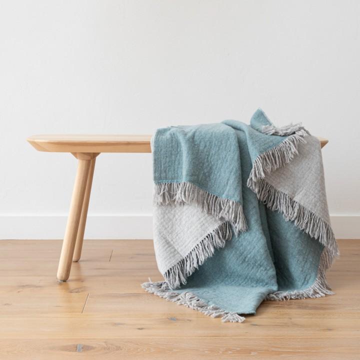Aqua Extra Fine Merino Wool Throw Marcus