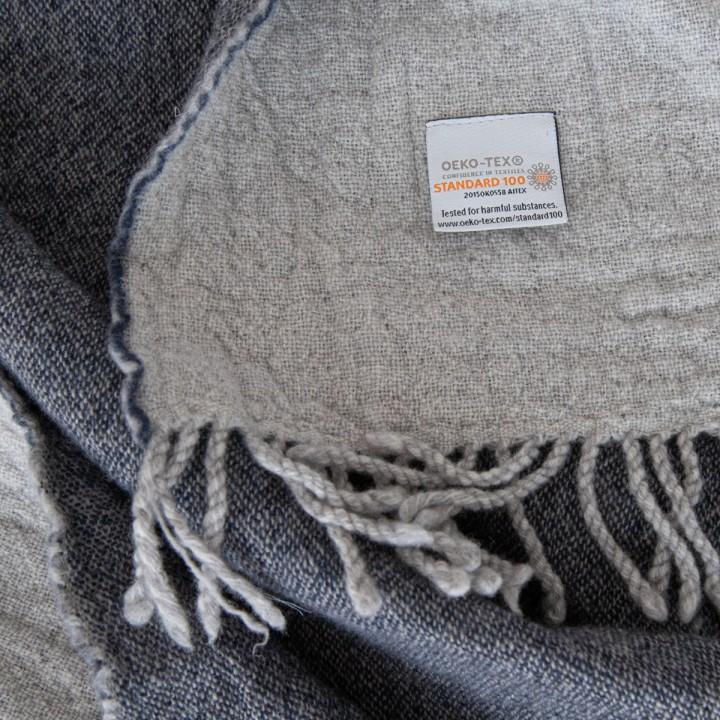 Navy Extra Fine Merino Wool Throw Marcus