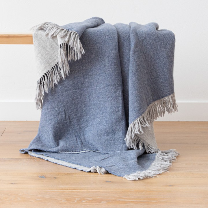 Denim Extra Fine Merino Wool Throw Marcus