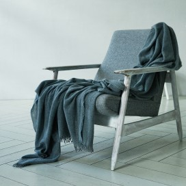 100% Cashmere Throw Eva Grey