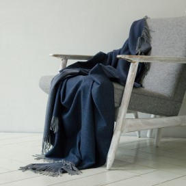 100% Cashmere Throw Emilio Navy Blue