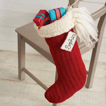 red natural wool stocking